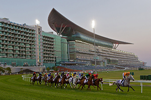 Racing at Meydan, Dubai.