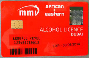 alkohol engedély Dubaj